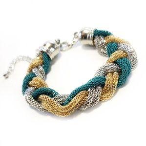 NWOT Braided Snake Chain Silver Gold Bracelet